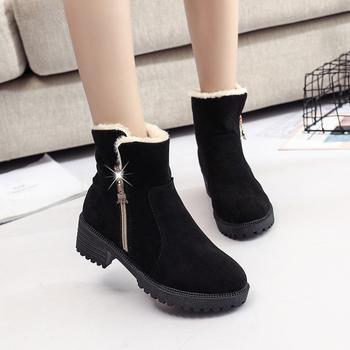 艾微妮热销款侧拉链绒面保暖短靴