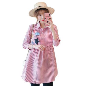 蚕坊俪 韩版休闲绣花长袖衬衫