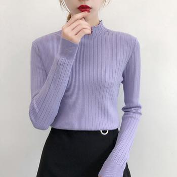兰菲秋冬季半高领修身针织衫