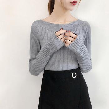 伊春美韩版长袖大圆领针织衫