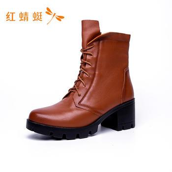 红蜻蜓百搭系带擦色短靴C726352