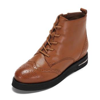 达芙妮羊皮英伦布洛克系带马丁靴