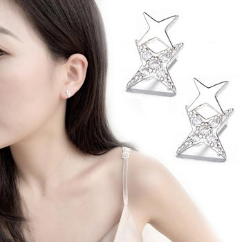 S925银双层星星耳钉精致工艺闪耀气质时尚百搭