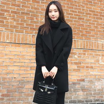 UYUK韩版宽松显瘦中长款毛呢外套