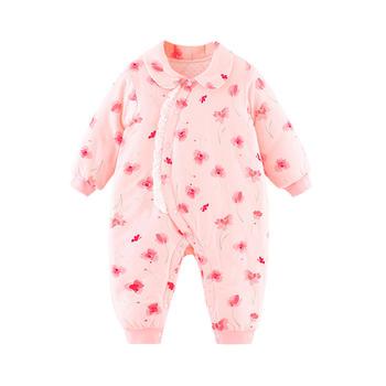 宝然婴儿连体衣公主侧开爬服棉袄