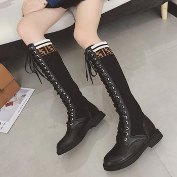 ADK高筒靴系带弹力袜靴马丁长靴
