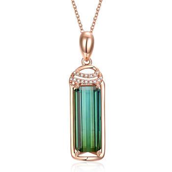 今上珠宝 18K金钻石绿碧玺吊坠