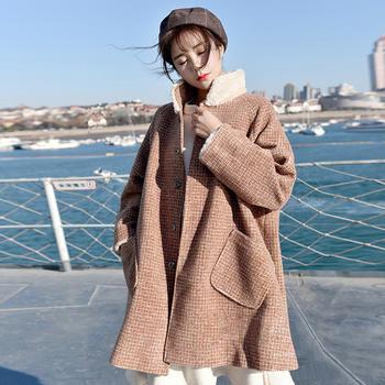 衣织优美 秋冬韩版宽松呢子大衣