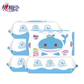 心相印婴儿护肤手口湿巾80片*5包