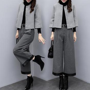新款毛呢长袖外套时尚显瘦套装