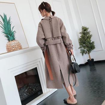新款呢子大衣中长款格子毛呢外套