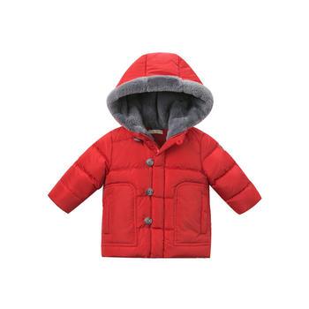 davebella冬季男童大红色连帽羽绒服