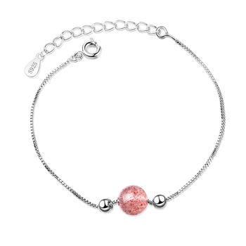 925银甜美草莓晶手链送闺蜜礼物时尚气质百搭