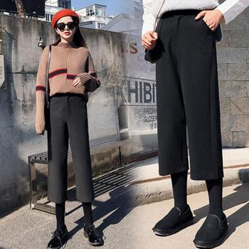 兰菲秋冬季显瘦高腰直筒九分裤