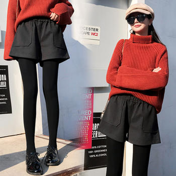 红运格格高腰毛呢短裤
