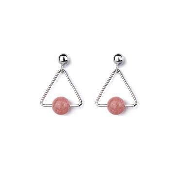 草莓晶几何三角形耳钉