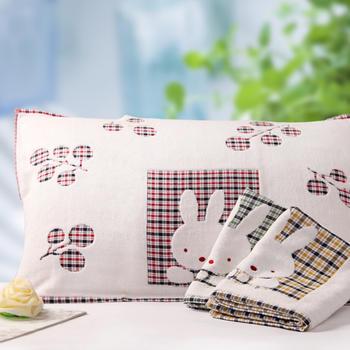 金号纯棉双层布艺枕巾枕头巾2条