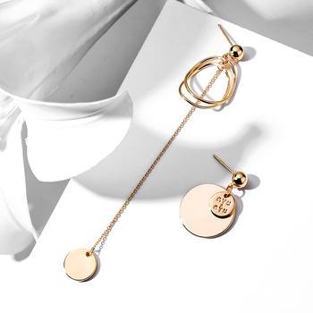 戴拉  925银针简约不对称长款耳环