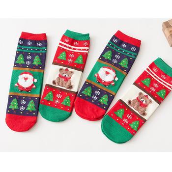 赛棉 4双装秋冬圣诞树直筒女棉袜