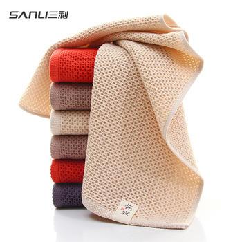 三利纯棉华夫格毛巾3条装洗脸面巾 成人日式侘寂系列