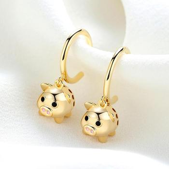 卡洛美 925银针可爱小猪耳环女