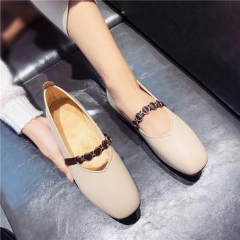 艾微妮新款金属链条装饰粗跟单鞋