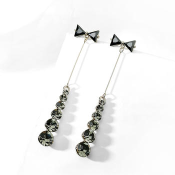 戴拉  925银针蝴蝶结流苏长款耳环