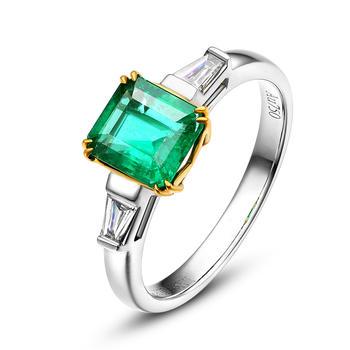 今上珠宝 18K金祖母绿T方钻石戒指