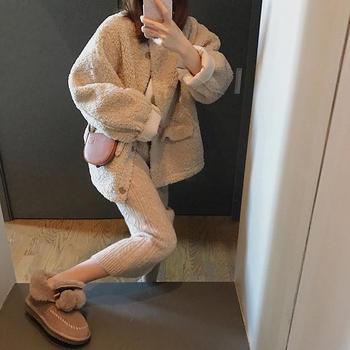 雪梨钱夫人 圆领羊羔毛外套