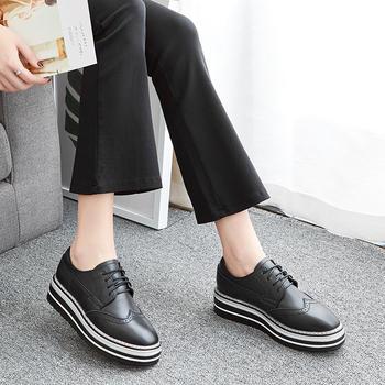 ZHR女鞋2019春季新款厚底真皮单鞋