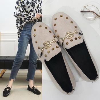 安欣娅韩版金属装饰铆钉平底单鞋
