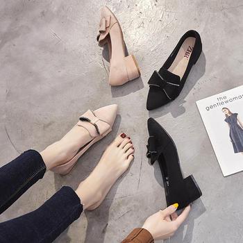 ZHR新款浅口平底单鞋尖头休闲鞋女百搭网红ins奶奶鞋