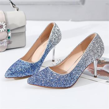 奥古女鞋夏季亮片尖头细跟鞋短靴浅口单鞋