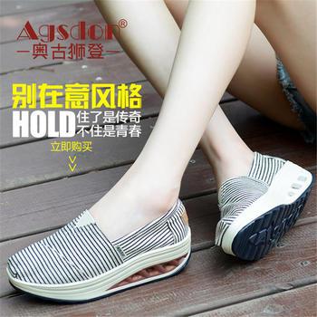奥古狮登女鞋夏季运动鞋帆布韩版条纹老北京布鞋高跟