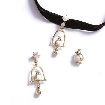 Crocus时尚百搭知更鸟设计耳钉项链套装80021