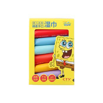 海绵宝宝儿童婴儿绵柔手口湿巾/湿纸巾 64片限期20.11特价