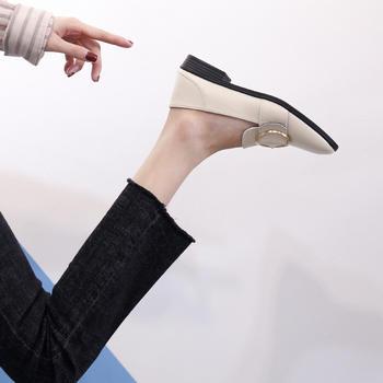 奥古女鞋夏季韩版圆头浅口鞋短靴时尚单鞋工作鞋女式