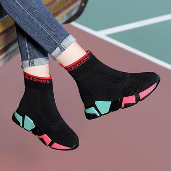冬季加绒高帮鞋女新款弹力袜子鞋