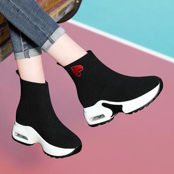 韩版百搭高帮运动鞋子女士内增鞋