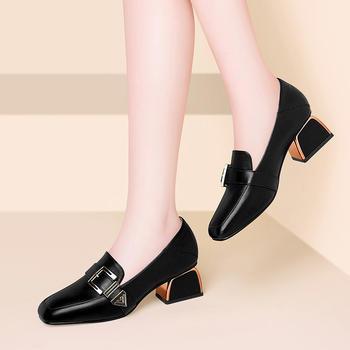女鞋复古粗跟韩版高跟鞋百搭单鞋