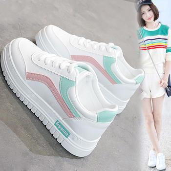 奥古女鞋夏季PU韩版增高运动鞋低帮休闲小白板鞋