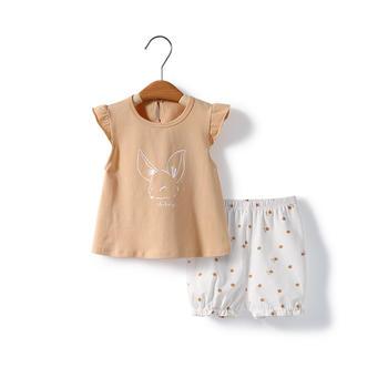 舒贝怡 宝宝飞袖时髦两件套夏装薄