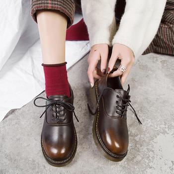 慕沫2019新款女鞋春季系带小皮鞋