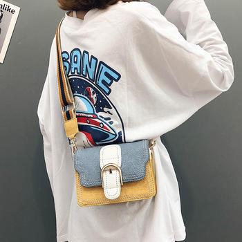 雅涵时尚ins同款撞色斜挎小包包女