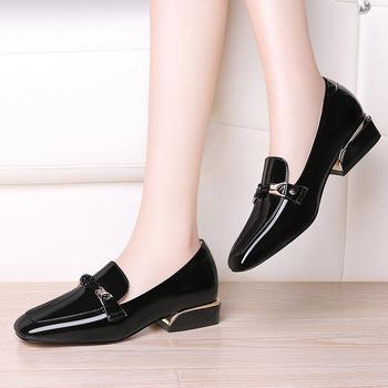 英伦方跟厚底单鞋女低帮学生鞋