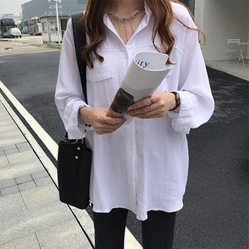 S SKY新款韩版气质长袖衬衫女宽松韩范衬衣打底衫
