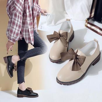 Tatyana2019春季新款纯色套脚?#39184;?#34676;蝶结中跟单鞋