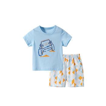 舒贝怡 夏季小童卡通短袖两件套薄