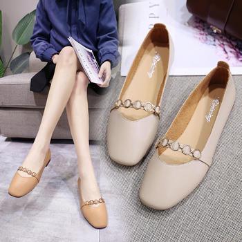 安欣娅新款金属链条平?#35013;?#25645;休闲单鞋