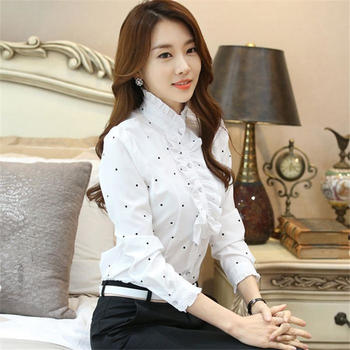 KDN新款荷叶花边长袖白色雪纺衬衫女立领职业打底衣